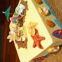 Beach theme birthday cake. by Dell Khalil