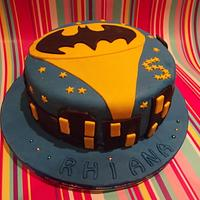 Batman cake and superhero cupcakes