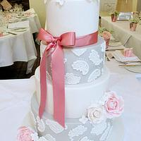 Roses Peonies and Lace Wedding Cake