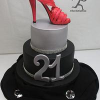 Hot Pink Stiletto 21st Cake with Miniature cupcake - edible shoes