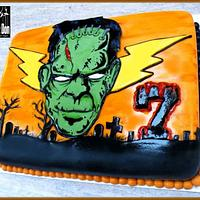 THE HALLOWEEN / 7th BIRTHDAY FRANKENSTIEN CAKE
