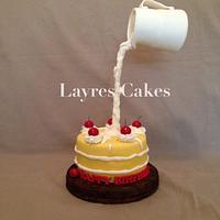 Gravity defying cake and cream!