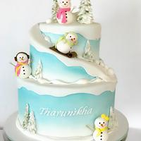 Snow man themed cake