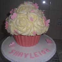 large giant pink vanilla cupcake