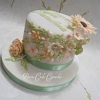 Delicate Peach and Gooseberry 60th birthday Cake