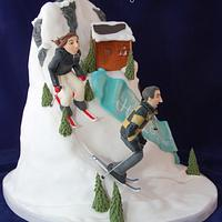 Ski Mountain Engagement Cake