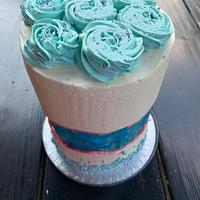 Graduation fault line double barrel cake