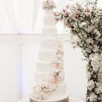 Sugar flower cascade wedding cake