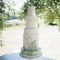 Hand painted climbing foliage cake