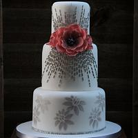 white and silver gray wedding cake