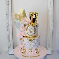 Ladies damask and wafer flower birthday cake