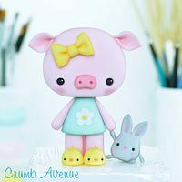 Cute Piglet Cake Topper