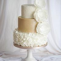 Lace & Ruffle Wedding Cake by Mericakes