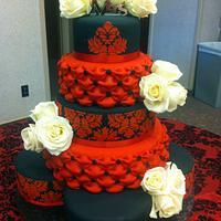 Red and Black Damask Wedding Cake