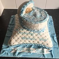 Pillow and basket christening cake