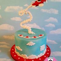 Skywriting Bear Plane Cake
