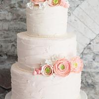 Rustic Blush Wedding Cake