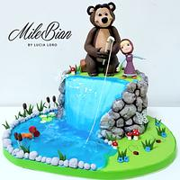 Masha and the bear water cake