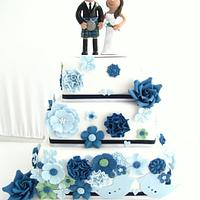 Blue toned Vintage Wedding Cake
