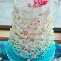 Teal Ruffles for a weeding cake