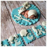 King of the sea baby shower cake
