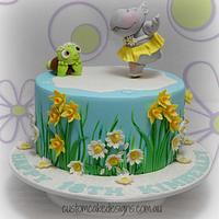 Ice Skating Hippo Birthday Cake