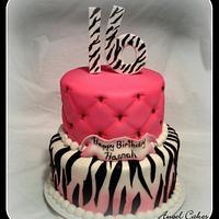 Zebra stripes and hot pink sweet 16 cake
