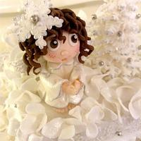 Little angel and mice christmas cake