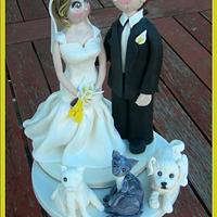 A Couple with their Fur Babies! Cake topper