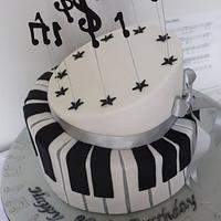 Piano 80th birthday cake