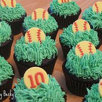 Softball Birthday Cupcakes
