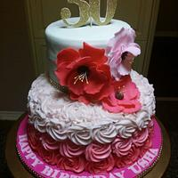 30th Bright Florals cake