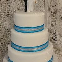 Blue & silver ribboned wedding cake