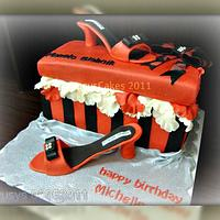 Gift Box Shoe Cake with Manolo Blahnik Shoe