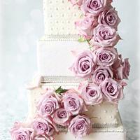 4 Tier Rose Wedding Cake