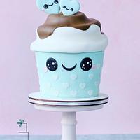 Giant kawaii cupcake