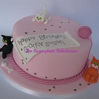 Cat Themed Cake and Cupcakes