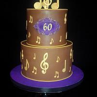 60 th Birthday Cake with Music Notes
