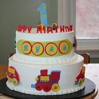 car, train and plane cake