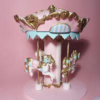 Carousel, fondant cake decoration