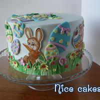 Easter cake with hand painting bunnies