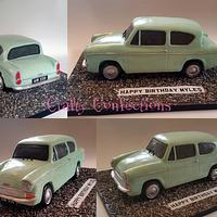 Vintage 1960 Ford Anglia 105E cake for a car enthusiast's 60th birthday