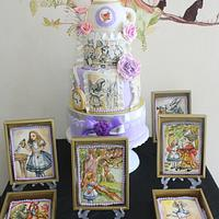 Alice in Wonderland Themed Wedding Cake and Cookies