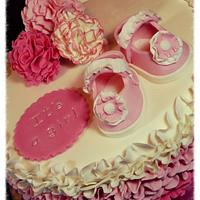 Baby shower ruffled cake by S' Delicacy