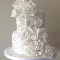 White Wedding cake, with just a touch of pink