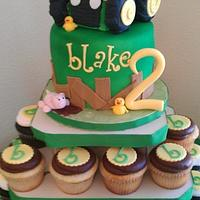 John deere tractor cupcake tower by Hot Mama's Cakes