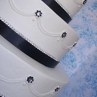 rhinestones and black ribbon