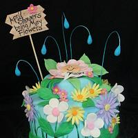 April Showers May Flowers Baby Shower Cake