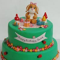 Bunny Picnic Birthday Cake..