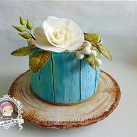 Aged painted wood effect cake